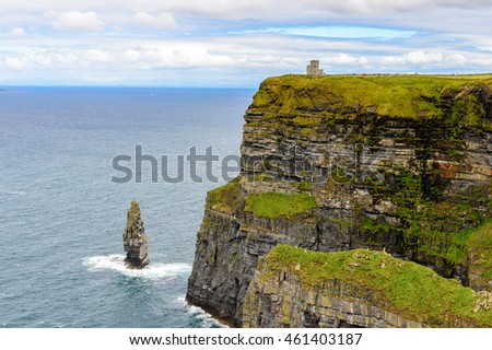 Rocks of Cliffs of Moher (Aillte an Mhothair), edge of the Burren region in County Clare, Ireland. Great touristic attraction