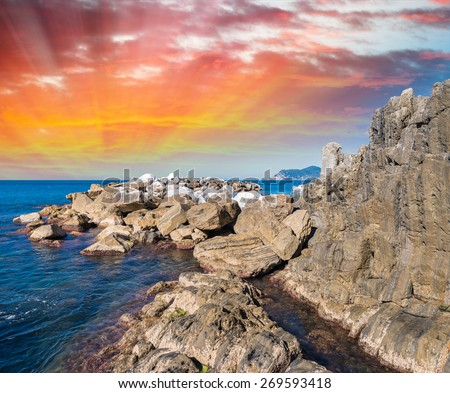 Rocks of Five Lands, Italy. - stock photo