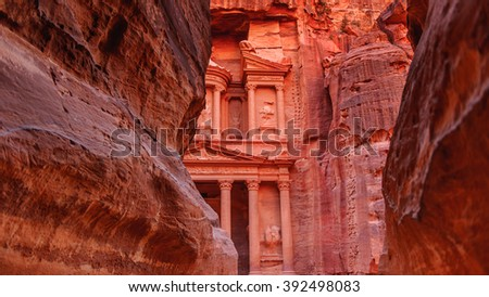 Rocks of Petra and the Al Khazneh or The Treasury at Petra, Jordan. Petra is one of the New Seven Wonders of the World. UNESCO World Heritage