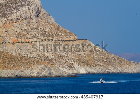 Rocks of small greek islands. Kalymnos area.