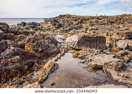 Rocks of the coast of the Easter Island, Chile