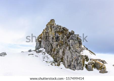 Rocks of the Half Moon Island, an Antarctic island, the South Shetland Islands of the Antarctic Peninsula region. - stock photo