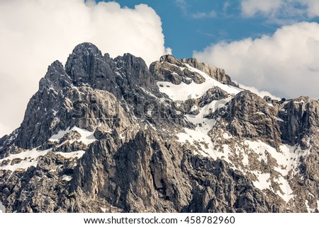 Rocks of the Karwendel Mountains in Bavaria, Germany. - stock photo