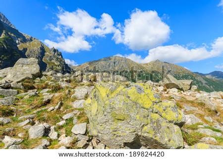 Rocks on mountain trail near Morskie Oko lake, High Tatry Mountains, Poland - stock photo