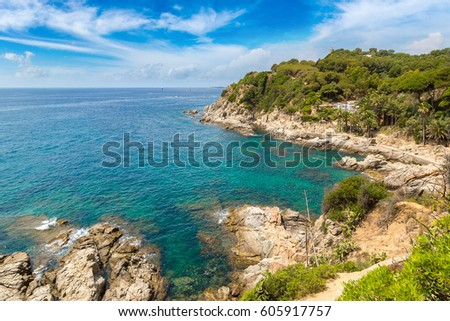 Rocks on the coast of Lloret de Mar in a beautiful summer day, Costa Brava, 