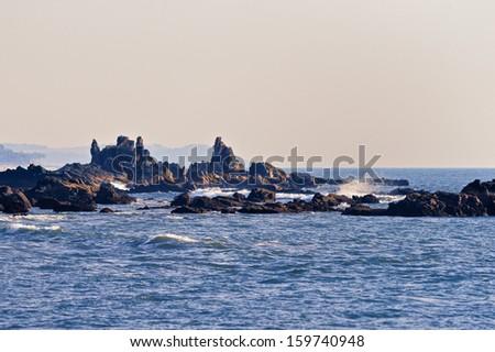 Rocks on the seashore in Arambol, Goa  - stock photo