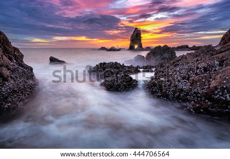 Rocks , sea at sunsets  - Leamchabang Thailand , Typical seascape of the northern thailand  coast during north winds days. - stock photo