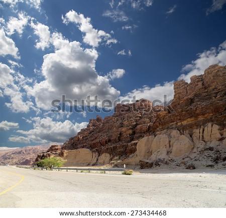 Rocks Wadi Mujib -- national park located in area of Dead sea, Jordan   - stock photo