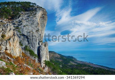 rocks with a pine forest near the sea,  Shaan - Kaya; Crimea; Russia