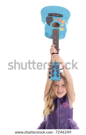 rockstar child smashing her guitar straight - stock photo