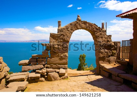 Rocky Arch on Taquile Island , Puno, Peru - stock photo