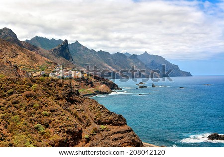 Rocky Atlantic ocean coast near Benijo, Tenerife, Canary islands, Spain - stock photo