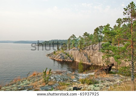 Rocky bank of the Ladoga lake