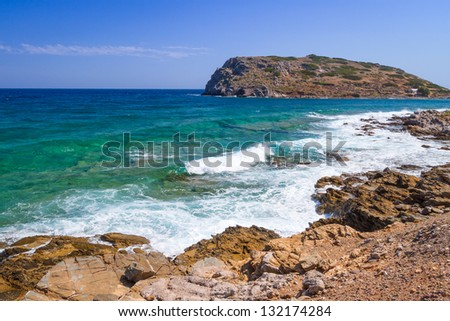 Rocky Bay view with blue lagoon on Crete, Greece - stock photo