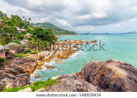 Rocky beach Coral Cove on Koh Samui in Thailand.
