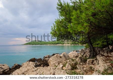 Rocky beach in Croatia - stock photo