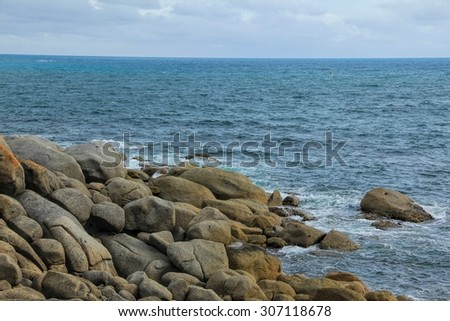 Rocky beach in Granite Island off the coast of Victor Harbour South Australia