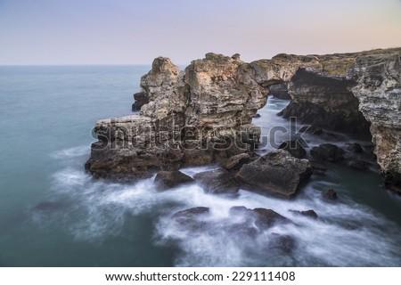 Rocky beach in Tyulenovo, Bulgaria - stock photo