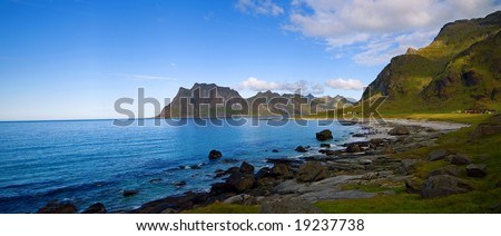rocky beach, Lofoten Islands, North Norway - stock photo