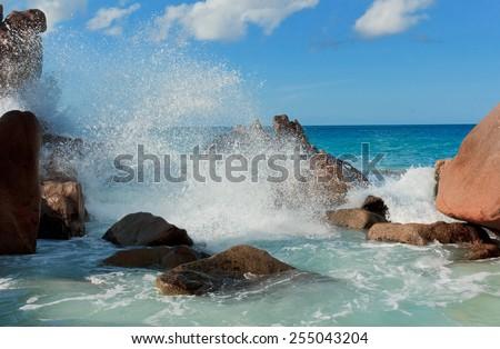 Rocky Beach Magnificent Seychelles  - stock photo