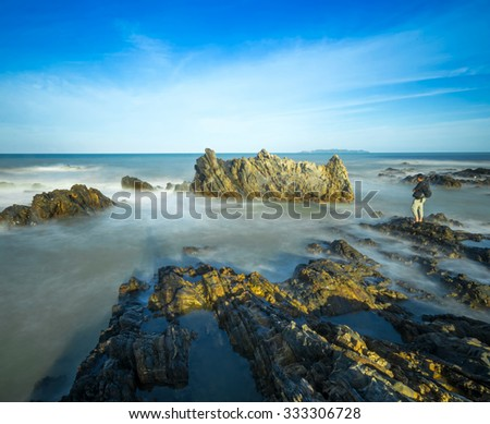 Rocky Beach With Blue Sky,Early Morning,With Long Exposure Photography.