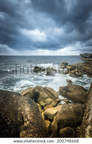 Rocky Britton coast in a stormy weather