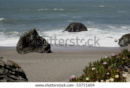 Rocky California coastline with spring flowers abloom. - stock photo