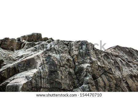 Rocky cliff at a park isolated on a white background - stock photo