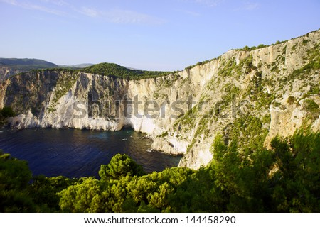 Rocky cliff on the island of Zakynthos, Greece