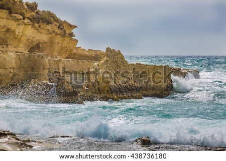 Rocky coast formed Il-Kalanka Bay. The island Malta.