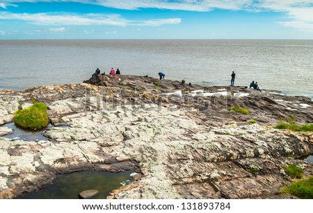 Rocky coast in Colonia del Sacramento, Uruguay - stock photo