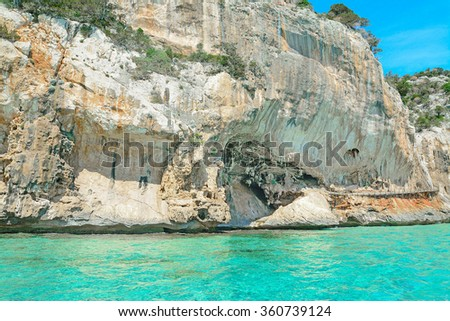 rocky coast in Orosei Gulf, Sardinia - stock photo