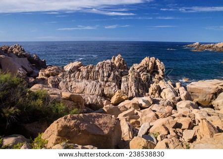 rocky coast in the east of Sardinia, Italy - stock photo