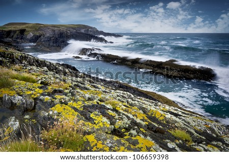 Rocky coast of Atlantic Ocean during stormy weather, South West of Ireland - stock photo