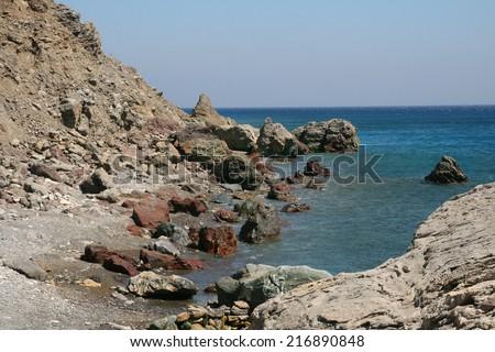 rocky coast of the island of Kos, Aegean Sea,  - stock photo