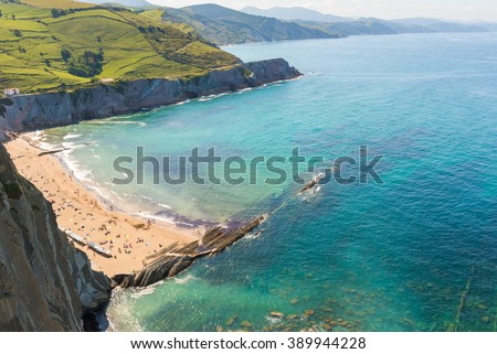 Rocky coast of Zumaia, Basque Country (Spain)  - stock photo