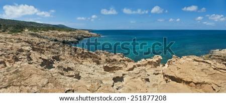 rocky coast on akamas peninsula, cyprus - stock photo
