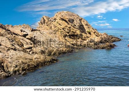 rocky coast on the mediterranean sea - stock photo