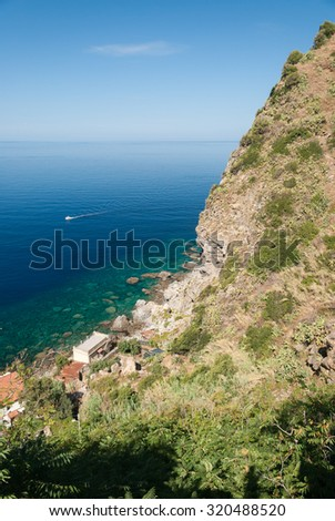 "Rocky coastline along ""Costa Viola"" in southern Italy"