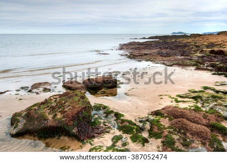 Rocky coastline and view over Irish Sea in Malahide, County Dublin, Ireland - stock photo