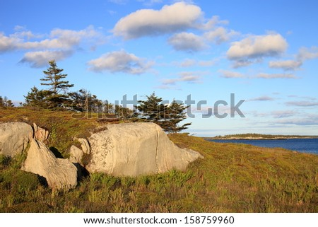 Rocky coastline at sunset - stock photo