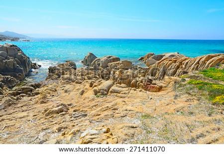 Rocky coastline in Santa Reparata beach, Sardinia - stock photo