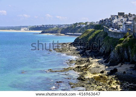 Rocky coastline of Granville, a commune in the bay of Saint-Michel in the Manche department in Lower Normandy in north-western France.