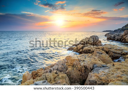 Rocky coastline with magical sunrise,Rovinj,Istria peninsula,Croatia,Europe