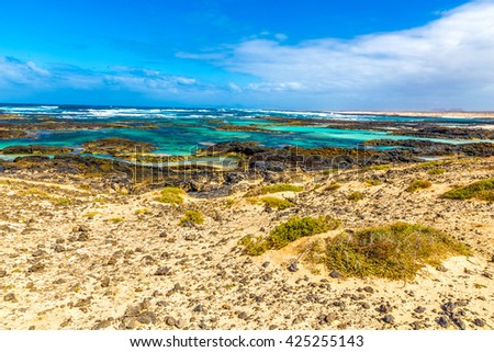 Rocky Coastline With Turquoise Lagoons - El Cotillo, Fuerteventura, Canary Islands, Spain