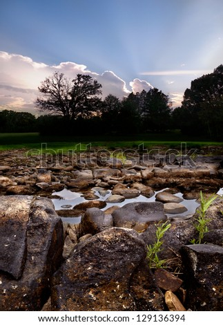 Rocky creek in remote area of Oklahoma. - stock photo