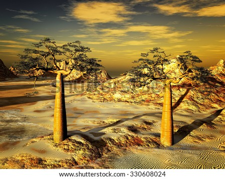 Rocky desert with two trees- baobab - stock photo