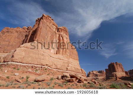 Rocky Formations at Arches National Park in Utah, USA - stock photo
