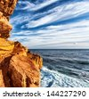 Rocky headland on the Atlantic coast of the Cape Peninsula, South Africa, most south-western point of the African Continent, Cape of Good Hope, beautiful natural background, mountain border - stock photo
