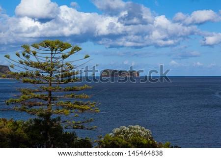 Rocky island at the azores - stock photo